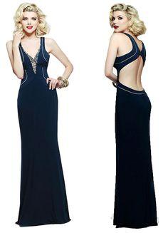 [NEW!] Sexy Sheath/Column V-neck A-line Floor-length Evening Dresses. What do you think of it?