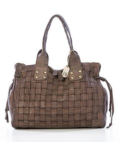 Look what I found on #zulily! Taupe Woven Leather Shoulder Bag #zulilyfinds