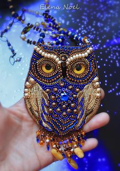 RESERVE for Caroline! Fairy mysterious blue owl. Beaded necklace with owl. Necklace Bead Embroidery Art
