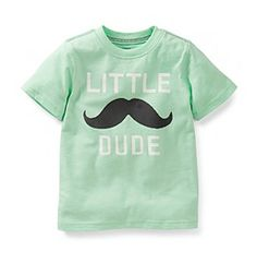 Product: Carter's® Baby Boys' Mint Green Little Dude Moustache Tee