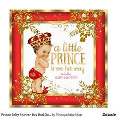 Prince Baby Shower Boy Red Gold White Brunette Invitation