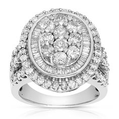 Shop for Eloquence 10k White Gold 3ct TDW Composite Halo Cluster Diamond Ring (J-K, I1-I2) and more for everyday discount prices at Overstock.com - Your Online Jewelry Store!