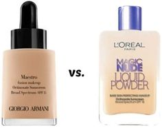 FOUNDATION DUPES~HIGH END vs DRUGSTORE. Georgio Armani Maestro vs L'oreal Magic Nude Liquid Powder. L'Oreal owns Georgio Armani Beauty & both of these foundations were released around the same time. It has the exact same formulation.