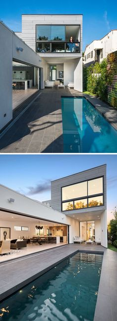 This modern house has sliding glass walls and doors that open the interior of the home to the backyard and swimming pool. #ModernHouse #SwimmingPool #swimmingpools