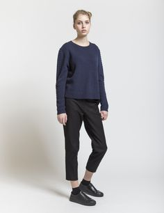 Selhood - womensfashion outfit. Lambswool/nylon knit with structure on sleeves. A soft lambswool blend knit designed in a classic fit.