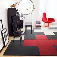 Met tapijttegels kun je makkelijk een eigen ontwerp maken.