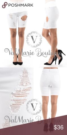 "White Destroyed Twill Bermuda Shorts Women's Destroyed Super Stretched Bermuda Shorts - fits true to size S(2-4) M(6-8) L(10-12)  97% Cotton, 3% Spandex. Inseam apprx 8"" - wear adorable shorts without being self conscious of your legs! ValMarie Boutique Shorts Bermudas"