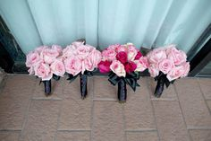 Hot pink and black wedding bouquets