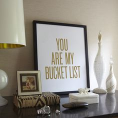 I mean, how sweet is this? We love this gold foil letter pressed print! It is the perfect piece to put in your office or by the door to remind your loved one how much they mean to you every day. Sold without the frame.    Dimensions: 16'' x 20'' and 8'' x 10''