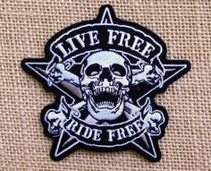 """Biker Patch. Punk Iron On Patches for Jackets Backpacks. Classic Biker Patch. Live Free Ride Free Biker Motorcycle Back Patches. Size 4"""""""