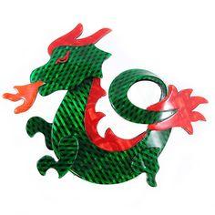 Lea Stein Dragon Brooch Green Red by HarlequinMarketHQM on Etsy