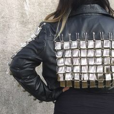 Safety Pin cropped leather motorcycle Jacket Cropped leather motorcycle jacket with safety pins Wear the Paint Jackets & Coats