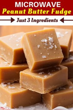 Microwave Peanut Butter Fudge - Just 3 Ingredients!- Microwave Peanut Butter Fudge – Just 3 Ingredients! – Insanely Good Microwave Peanut Butter Fudge – Just 3 Ingredients! Microwave Peanut Butter Fudge, Peanut Butter Dessert Recipes, Peanut Butter Squares, Peanut Butter Cup Cookies, Chocolate Peanut Butter Fudge, Creamy Peanut Butter, Fudge Recipes, Candy Recipes, Easy Microwave Fudge