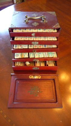 Vintage Chinese Mah Jong Tile Set Rosewood by VintageEastTennessee, $209.00