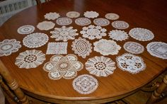 26 Vintage Hand Crocheted and Lace Doilies White and Ivory-Colored 4.5 to 8.5""""