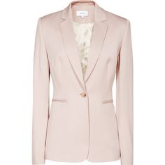 Lisa Jacket BLUSH SINGLE-BREASTED BLAZER ($390) ❤ liked on Polyvore featuring outerwear, jackets, blazers, pink blazer jacket, pink blazer, single breasted blazer, pink jacket and blazer jacket
