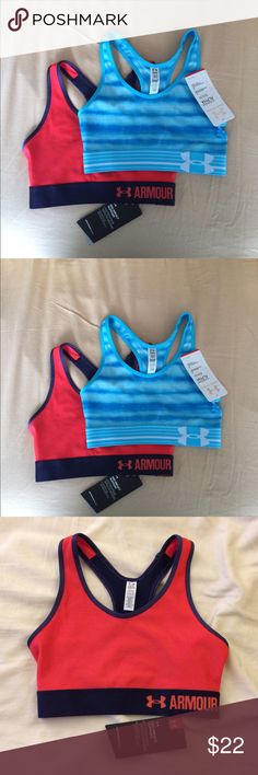 Bundle of 2 NWT Under Armour sports bras, size XS Bundle of 2 brand new with tags Under Armour sports bras, both size women's XS. *Check out my closet for lots of other Under Armour items these can be bundled with! Under Armour Intimates & Sleepwear Bras