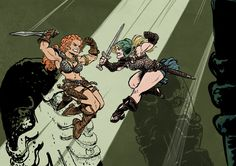 Una vs Red Sonja by SteveLeCouilliard