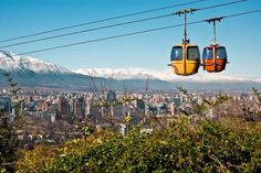 Photo about Cable car in San Cristobal hill, overlooking a panoramic view of Santiago de Chile. Image of landmark, sightseeing, parque - 9080481 Machu Picchu, Colombian Cities, African Holidays, Visit Chile, Easter Island, Solo Travel, Dream Vacations, Cool Places To Visit, South America