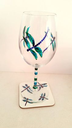 Turquoise Dragonfly Wine Glass and Coaster by AnimalGlassDesigns