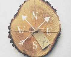 Rustic tree slice sign, hand painted compass design, outdoorsman, gifts for nature lovers, hikers, adventurers