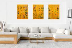 Crazy April No.8 – XXL triptych orange abstract painting Triptych, Abstract Styles, Acrylic Painting Canvas, Orange, The Originals, Acrylics, Figurative, Artist, Modern