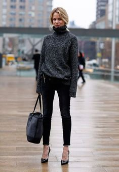 Black turtle neck knit + Black pants
