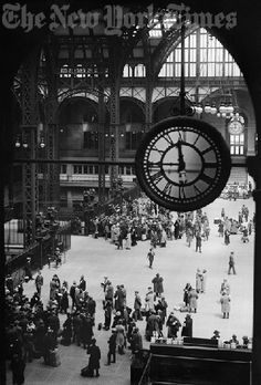 Vintage 1924, interior of Penn Station, NYC, www.RevWill.com
