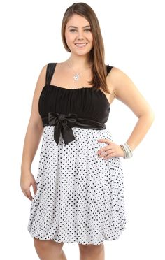 plus size polka dot party dress with bubble skirt