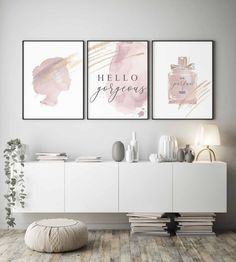 Informations About Hello gorgeous print,Hello Beautiful,Blush pink wall art,Fashion wall art,You loo Art Mural Rose, Girls Bedroom, Bedroom Decor, Decor Room, Bedroom Ideas, Murs Roses, Makeup Room Decor, Makeup Studio Decor, Makeup Rooms