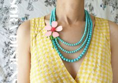 Pink coral flower statement necklace vintage peach by soradesigns, $126.50