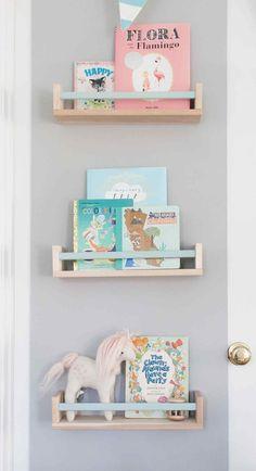 Ikea BEKVAM spice rack as book shelf with painted bar Ellie James' Nursery #BooksShelf