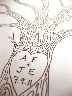 LARGE Wedding Guest Book Tree Customizable Original by PaperTwig, $69.00