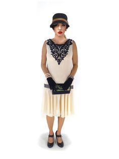 Robes de cocktail, ANNA Robe Charleston Dentelle Noire Mousseline est une création orginale de rosevoila sur DaWanda