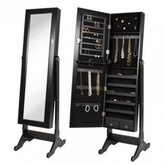 BTExpert Premium Wooden Jewelry Armoire Cabinet Floor Stand Safety Lock Organizer Storage Drawer Cheval Mirror Rings Necklaces Bracelets Black * Continue to the product at the image link. Full Length Mirror Vanity, Long Mirror, Black Mirror, Full Mirror, Mirror Jewellery Cabinet, Jewellery Storage, Jewelry Mirror, Hanging Jewelry, Jewelry Organization