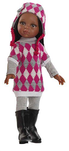 """Paola Reina Las Amigas Nora Winter 12.5"""" African American Doll (Made in Spain). Nora is cozy in her raspberry pink, grey and cream argyle sweater. Grey leggings, tall black boots, and a darling argyle hat with flower applique add the the perfect finishing touches. Paola Reina Las Amigas are created with an all-vinyl body and articulating arms, legs, and head, so doll can be posed in both standing and sitting positions.Nora stands 12.5"""" tall. This beautiful handmade African American doll…"""