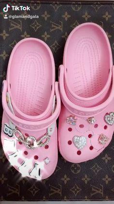 Pink Crocs, Crocs Shoes, Cool Crocs, Cute Sandals, Shoes Sandals, Crocs Fashion, Croc Charms, Cute Slippers, Crocs Classic