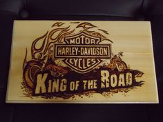 Hand Crafted Wood Burning Of Harley Davidson Wood