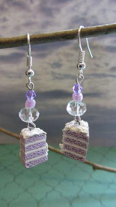 Lavender Cake Slice Earrings on Etsy
