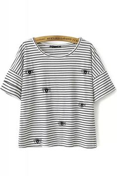 Eyes Embroidery Striped Round Neck Short Sleeve T-shirt