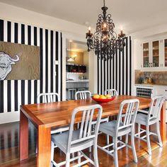 Black white and bold this dining room has it all! (: @jasdesignbuildseattle) #PorchPro #linkinbio  #blackandwhite #blackandwhitedecor #stripes #dining #diningset #diningroom #eclectic #chandelier #decor #design #designer #interior #instahome #interiordecor #interiordesign #inspiration #loveyourhome