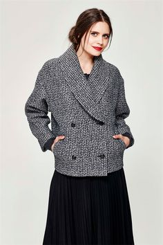 A jacket that pushes the boundaries of conventional outerwear with a print that has a knitted effect. The structured fabric gives it a modern sculptural shape. It has a dramatic collar, double-breasted buttons and two pockets. Second Winter 2016 Size & Fit: Model is 177cm tall Model wears a NZ 8/ NZ S/ EU 36/ US 4 Wash Guide: Dry clean only. Select a high quality drycleaner. Gentle short cycle. Low moisture. Low temperature. Do not wring/drip dry. Do not allow exposure to direct sunlight...