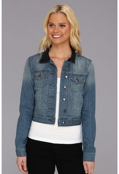 BCBGeneration Cropped Denim Jacket w/ Leather Collar - $59.99