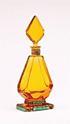 1920s Czech perfume bottle and stopper, amber crystal, jeweled gilt metal filagree