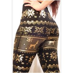 #1 SELLER-Reorder- LUXURY SNOWFLAKE FLEECE LEGGING HOTTEST ITEM ON POSHMARK! My #1 BEST SELLER! Check my ratings to see how much customers love these! These are the warmest most comfortable thick fleece lined leggings ever! These are luxury leggings and I had to special order these just for you, price reflects that. Adorable snowflake and deer gold & black foil print leggings. Super stretchy with high comfortable waist so no bulging. Tag says S/M fits 0-8 L/XL fits 10-14. Limited Quantities…