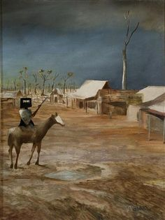 Sidney Nolan Australian Painting, Australian Artists, Sidney Nolan, Ned Kelly, Colt 45, Landscape Paintings, Abstract Paintings, Peacock Art, Traditional Landscape