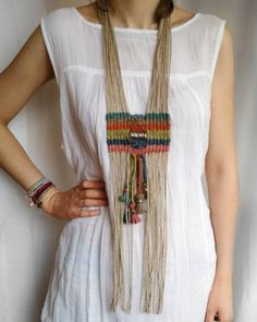 Artisan woven long breastplate necklace, silver beaded tribal nomad jewelry, hemp tapestry statement neckpiece, unique ethnic gift for womenTribal bohemian jewelry, home decor di myTotalHandMade Macrame Colar, Macrame Necklace, Tribal Necklace, Macrame Jewelry, Tribal Jewelry, Boho Jewelry, Jewelry Art, Fringe Necklace, Hemp Jewelry