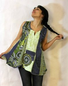 Reserved for Hazel, do not purchase this item.  Blue denim and green flowers patchwork top. Made from recycled denim jeans and clothes. Remade and