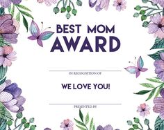 BEST MOM AWARD 2 designs included by AshatyThomas on Etsy