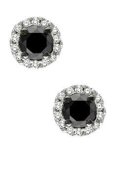 Black & White Diamond Halo Studs